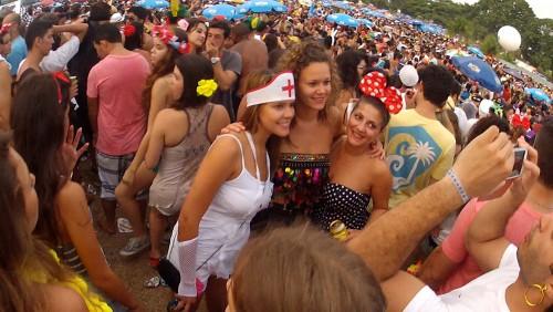 Friends celebrating Carnival in Rio de Janeiro