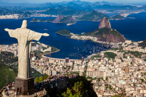 Helicopter view of the Christ in Rio